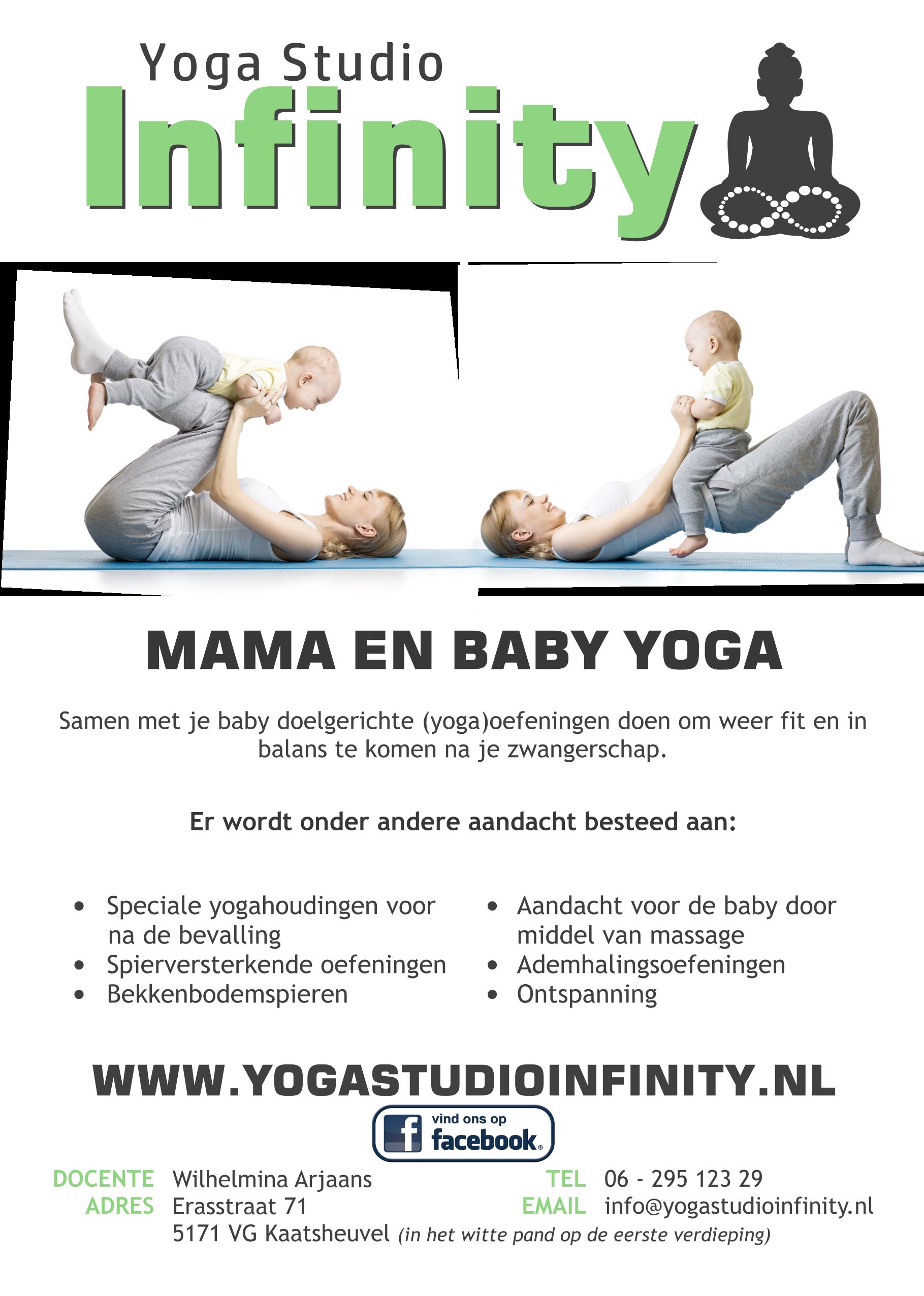 Flyer Zwangerschapsyoga en Mama en Baby yoga, zwangerschap, zwangerschapsyoga, infinity, yoga studio infinity, studui, yoga